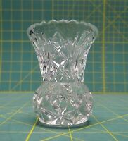 """Vintage Lead Crystal Clear Pineapple Shaped Etched Toothpick Holder 2-7/8""""H"""