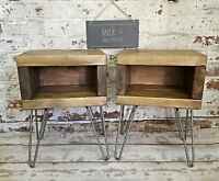 X1 Rustic bedside tables   industrial nightstands with retro hairpin legs