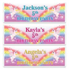 X 2 PERSONALISED GIRLS BIRTHDAY PARTY NAME UNICORN BANNERS KIDS DECORATION