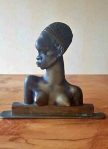 Austrian Art Deco Bronze Nude African Woman Bust Sculpture Hagenauer Style