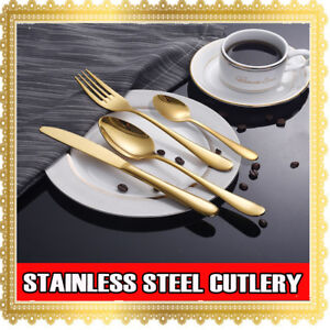 4 8 16 32 64 PCs Stainless Steel Gold Cutlery Dinner Tea Set Knife Fork Spoon