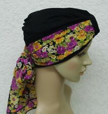 Turban with scarf, two piece head wear, black turban, chemo hat, bad hair day