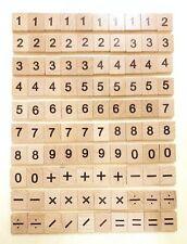 100 Tuiles Bois Carrés De Scrabble Nombre et Symbole Pièce pour enfants Jouets