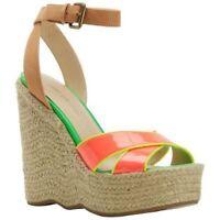 Enzo Angiolini Women's Nomas Wedge Sandal NWOB Sz 7.5 Orange Color Block
