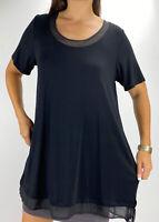 VIRTUELLE TS Black Contrast Hem & Neckline Short Sleeve Top Plus Size XS AU 14