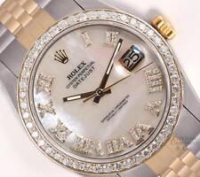 Rolex Men Datejust 2 Tone S/Steel 18k Diamond Bezel-White MOP Diamond Roman Dial