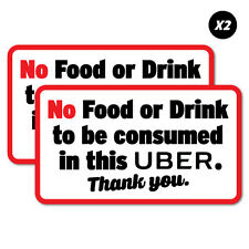 2x No Food Or Drink In This Uber Sticker Decal Shopfront Trading #7524EN