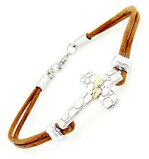 Black Hills Gold on Sterling Silver Cross Leather Bracelet