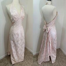 1980 Jessica McClintock Pink Wedding Gown Train Blush Brocade Bridesmaid Dress S