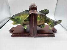 Vintage Wooden Fish Book Ends Bass