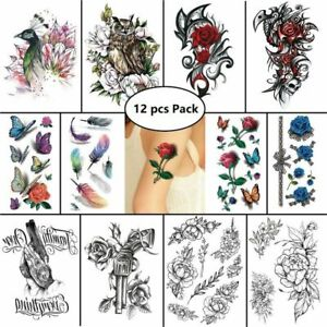 12 pcs Temporary Tattoo Stickers Waterproof Body Art Butterfly Peacock Feather