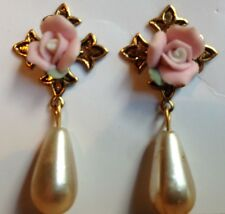 Simply Whispers Antique Gold Rose Faux Pearl Teardrop Earrings