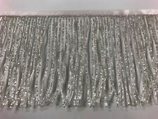 "By the Yard-6"" Glass SILVER/BUGLE Seed Beaded Fringe Lamp Costume Trim Crafts"