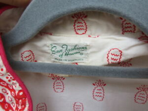vintage 1950s cotton pineapple hawaii shirt blouse top cotton summer party red
