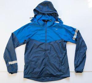 Nike Running Jacket Windbreaker Men's Medium Full Zip Lightweight Blue Hooded