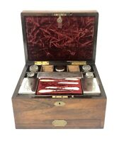 Good Antique Victorian Rosewood Fitted Ladies Vanity Jewellery Box Silver Plated
