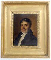 HSP XIX° PORTRAIT DE NOTABLE Signée H.J. Esperandieu Datée 1854 Cadre Bois Doré