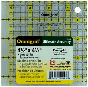 "Omnigrid 4 1/2"" x 4 1/2"" Ruler 1/8"" Grid 4 1/2 in Square"