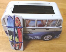 Collectable retro surfing surfer campervan biscuit tin