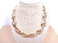 VINTAGE GOLD TONE STATEMENT CHOKER NECKLACE FEATHER/WING SHAPED LINKS SNAP LOCK