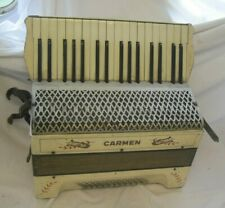 Vintage Working HAND Piano ACCORDION by CARMEN White early 20th Century 1930s
