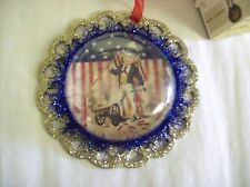 "Bethany Lowe ""Americana Image"" Dome-style Ornament with Man Firing Cannon & Gun"