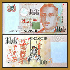 Singapore 100 Dollars, ND 1999 (2015) P-50 (Youth, Star on the Back) Unc
