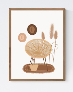 Living Room Poster, Abstract Living Room Print, Boho Print, Living Room Wall Art