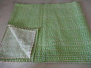 Indian Hand Block Print Handmade Kantha Quilt Reversible Bedcover Diamond Throw