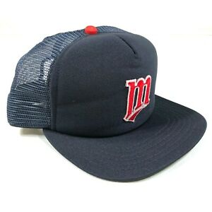 Vintage Minnesota Twins Trucker Hat Cap Youth Size Navy Blue Red M Logo USA New