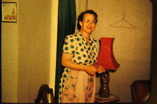 Vtg 1950s American Life 35mm Color Slide housewife apron lamp mature decor
