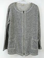 Eileen Fisher  Jacket  Zip Up Tweed White Black Women's Size XL
