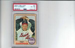1968 O-PEE-CHEE OPC #93 TONY CLONINGER ATLANTA BRAVES  PSA GRADED EX-MT 6