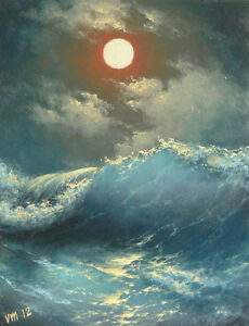 """152- 16""""x 20"""" GALLERY WRAP CANVAS GOCLEE PRINT SEASCAPE Caribbean Stormy Night"""