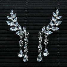 UK New large statement prom crystal silver floral diamante drop earrings vintage