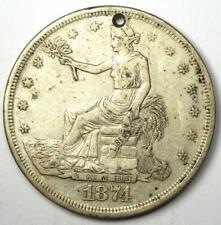 1874-CC Trade Silver Dollar T$1 - VF Details (Holed) - Rare Carson City Coin!