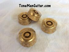 Gold Guitar Speed Knobs - Fits Coarse 6mm Dia Potentiometers - Les Paul & others