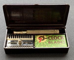 """Vintage Gillette """"7 O' Clock"""" Open Comb Safety Razor Set with Bakelite Case"""