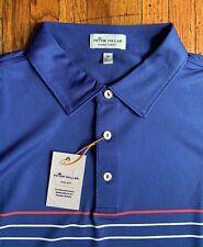 NEW Peter Millar Summer Comfort Mens XL Blue Striped Performance Polo Shirt