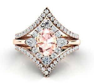 3 Ct Oval Morganite Vintage Trio Bridal Ring Set Wedding Ring 14K Rose Gold Over