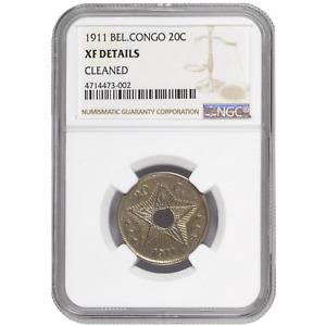 Belgian Congo 20 Centimes 1911 Albert I NGC AU Authentic KM# 19