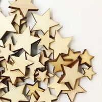 50 x Wooden Mixed Sizes Plain Stars