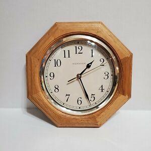Ingraham Wall Clock Light Oak Wood Octagon Wood Clock Ingraham VTG Wall Clock