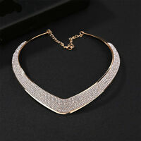 Women Fashion Jewelry Crystal Pendant Choker Chunky Statement Collar Necklace