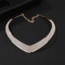 Fashion Jewelry Women Chain Pendant Crystal Choker Chunky Statement Bib Necklace
