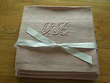 Linge ancien 6 Serviettes coton  teintées rose poudré  Monogramme PB