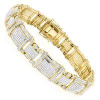3.5 Ct Round Cut Sim Diamond Men's Tennis Bracelet 14k Yellow Gold Plated Silver