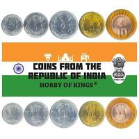 SET OF 5 COINS FROM INDIA. 50 PAISE, 1, 2, 5, 10 RUPEES. 2011-2019