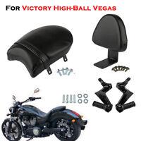 For Victory High-Ball Vegas Rear Backrest Black Seat Sissy Passenger Foot Pegs