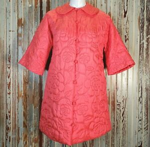 Vtg 60's Rose Embroidered Robe 100% Silk Pink Mod 3/4 Sleeve Neiman Marcus Small